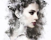 塑造年轻美丽的妇女画象有首饰的 库存图片