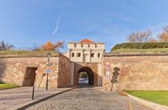 塔博尔门(1683) Vysehrad堡垒在布拉格 联合国科教文组织站点 免版税图库摄影