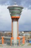 塔台(KDP)的新的大厦的看法在谢列梅机场 免版税库存照片