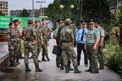 塔吉克斯坦:军事游行在杜尚别 免版税库存照片