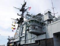 塔和中途的USS的驾驶舱 库存图片