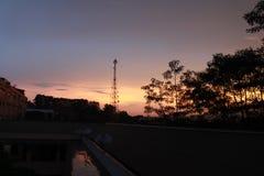塔和树在晚上日落 免版税库存照片