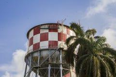 水塔和棕榈树 库存图片