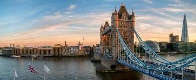 塔在日落期间的桥梁全景 库存图片