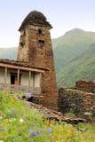 塔在Dartlo村庄 Tusheti地区(乔治亚) 图库摄影