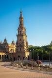 塔在plaza de西班牙在塞维利亚,西班牙,欧洲 免版税库存照片