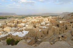 塔安置希巴姆镇, Hadramaut谷,也门 库存照片