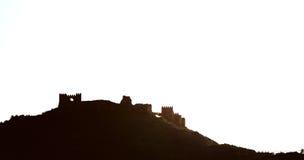塔宾斯沙漠自行车赛城堡的剪影 西班牙 免版税库存图片
