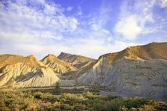 塔宾斯沙漠自行车赛沙漠山,安大路西亚,西班牙 免版税库存照片