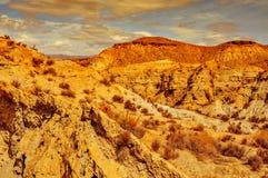 塔宾斯沙漠自行车赛沙漠,在西班牙 库存照片