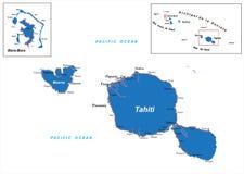 塔希提岛和博拉博拉岛地图 免版税库存图片