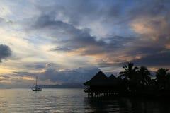 塔希提岛日落 免版税库存照片