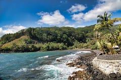 塔希提岛海滩,塔希提岛,塔希提岛,法属波利尼西亚,接近博拉博拉岛 图库摄影