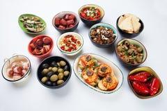 塔帕纤维布、开胃小菜或者mezze 库存图片