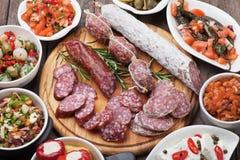 塔帕纤维布或开胃小菜食物 免版税库存图片
