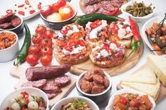 塔帕纤维布或开胃小菜食物 库存照片
