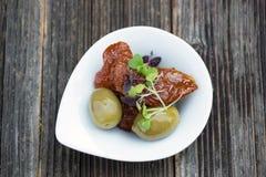 塔帕纤维布或开胃小菜食物 库存图片