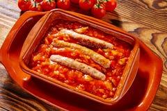 塔帕纤维布pisto骗局tomate ratatouille和香肠 图库摄影