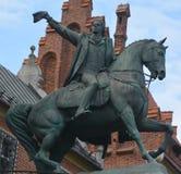 塔德乌什Kosciuszko纪念碑骑马古铜色雕象 免版税图库摄影