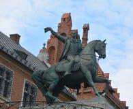 塔德乌什Kosciuszko纪念碑骑马古铜色雕象 库存图片