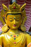 塔拉佛教神坛场雕象在Swayambhunath寺庙,加德满都,尼泊尔的 库存图片