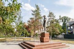 塔拉兹,哈萨克斯坦- 2016年8月14日:作为普希金的纪念碑 免版税库存照片
