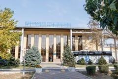 塔拉兹,哈萨克斯坦- 2016年8月14日:城市的中央体育场 免版税库存照片