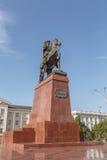 塔拉兹,哈萨克斯坦- 2016年8月14日:纪念碑Baidibek登上的o 免版税库存图片