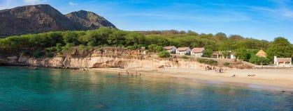 塔拉法尔海滩全景在海角的Verd圣地亚哥海岛 免版税库存照片