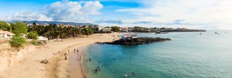 塔拉法尔海滩全景在海角的Verd圣地亚哥海岛 免版税库存图片