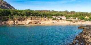 塔拉法尔海滩全景在海角的Verd圣地亚哥海岛 库存图片