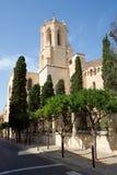 塔拉贡纳,西班牙- 2017年8月28日, :与Catedral在省塔拉贡纳的de圣玛丽亚的蓝天的天视图 它 图库摄影