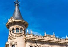 塔拉贡纳,西班牙- 2017年9月17日:商会塔拉贡纳  复制文本的空间 免版税库存照片