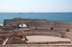 罗马圆形露天剧场废墟在塔拉贡纳,西班牙 免版税库存照片