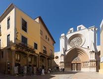 塔拉贡纳大教堂门面 库存照片