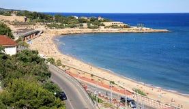塔拉贡纳海岸在卡塔龙尼亚西班牙 库存图片