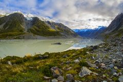 塔斯曼有大浮动冰山的Glacier湖, Aoraki登上C 图库摄影