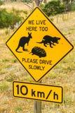 塔斯马尼亚的野生生物的路边警报信号 库存图片