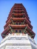 塔是与多个房檐的一个有排列的塔 库存图片