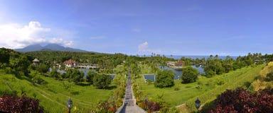 塔曼Ujung巴厘岛的水宫殿全景  免版税库存照片