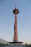 塔林在日落的电视塔,爱沙尼亚 免版税库存图片