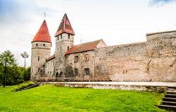 塔林城市墙壁防御塔在爱沙尼亚 免版税库存图片