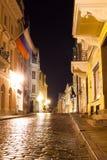 塔林夜视图新年`的s伊芙,爱沙尼亚 库存图片