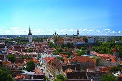 塔林老镇美好的鸟瞰图在爱沙尼亚 图库摄影