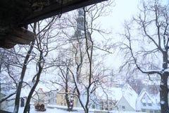 塔林老镇视图在冬天 免版税库存照片