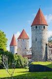 塔林,堡垒墙壁的塔 库存图片