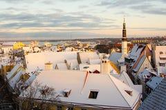 塔林,爱沙尼亚晚上视图  免版税库存照片