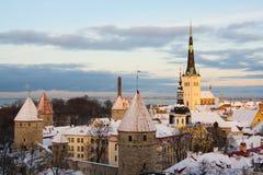 塔林,爱沙尼亚晚上视图  库存图片
