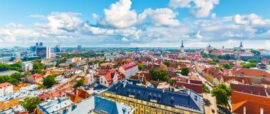 塔林,爱沙尼亚空中全景  免版税库存照片
