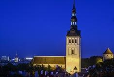 塔林,爱沙尼亚,欧洲,从toompea的概要 库存图片